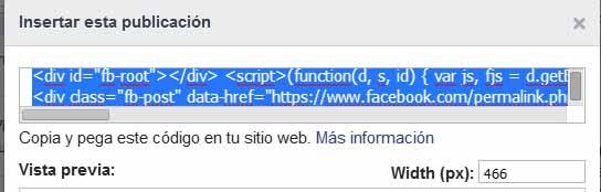 embeber facebook codigo