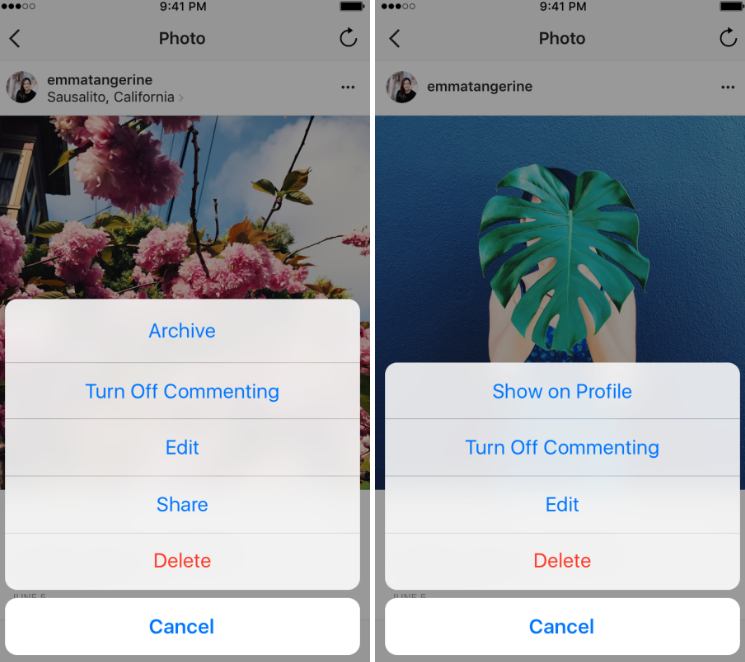 archivar fotos en instagram