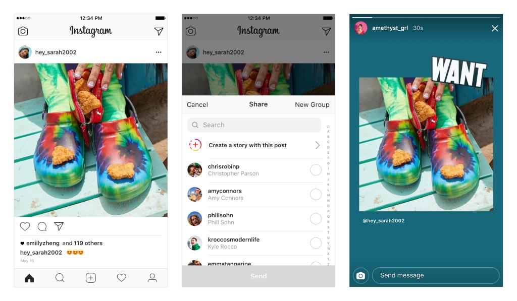 compartir post feed en stories en instagram