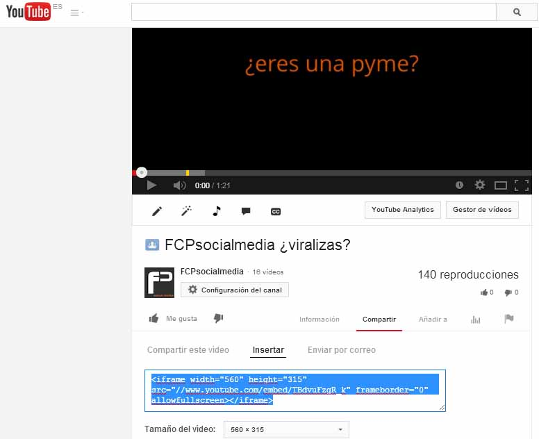 embeber youtube codigo