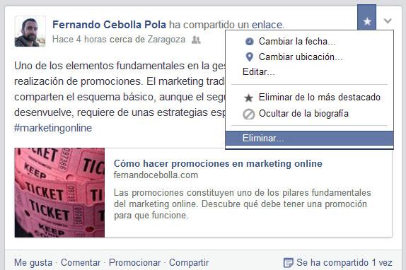 facebook eliminar ocultar