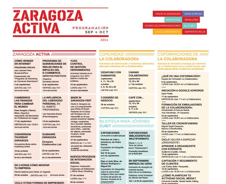 Calendario de eventos de Zaragoza Activa: sep/oct 2014