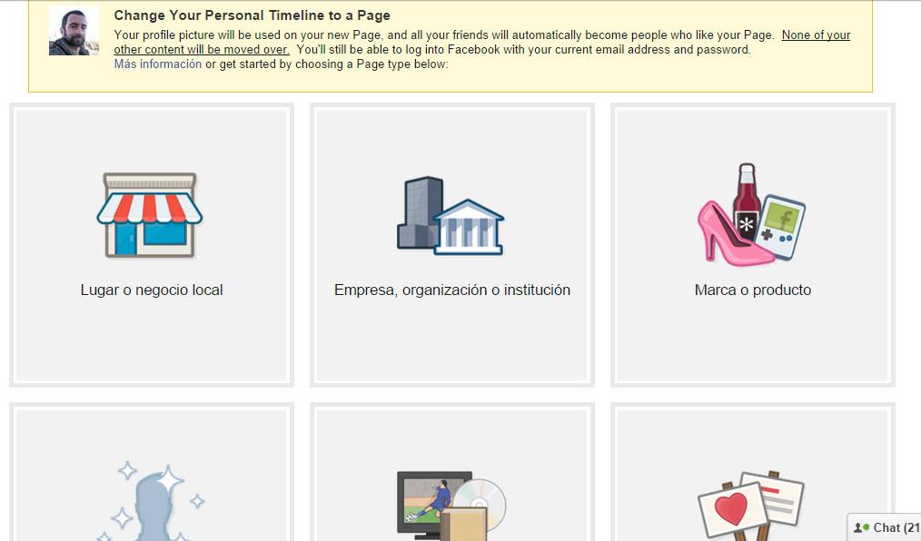 migrar perfil a fanpage en facebook