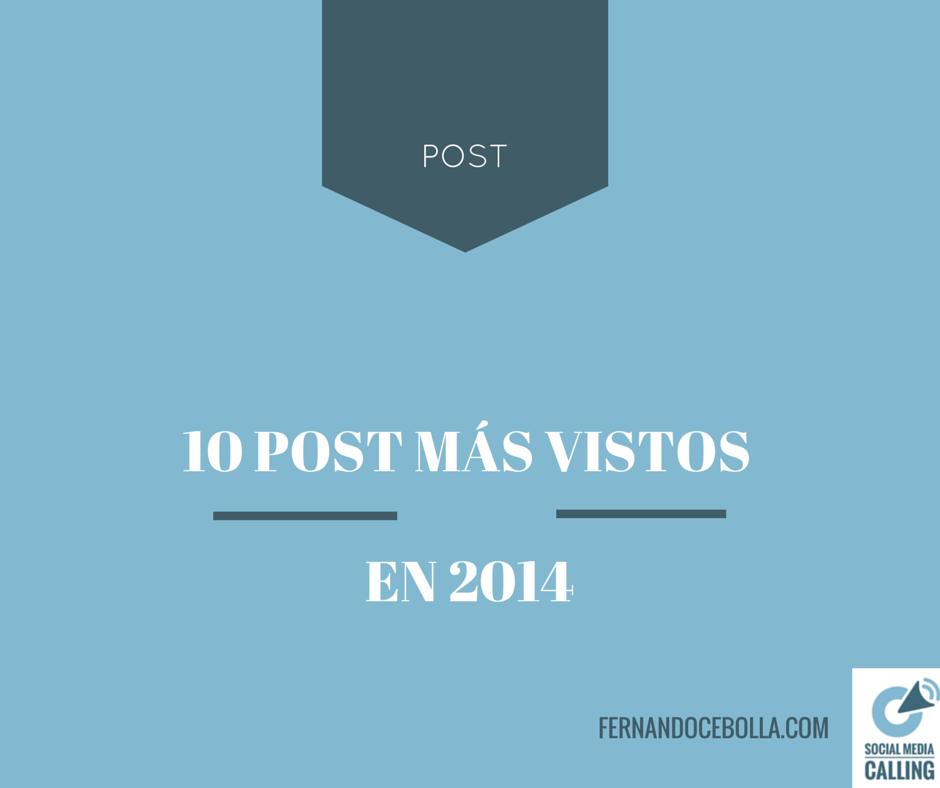 Los 10 post más vistos en el blog en 2014
