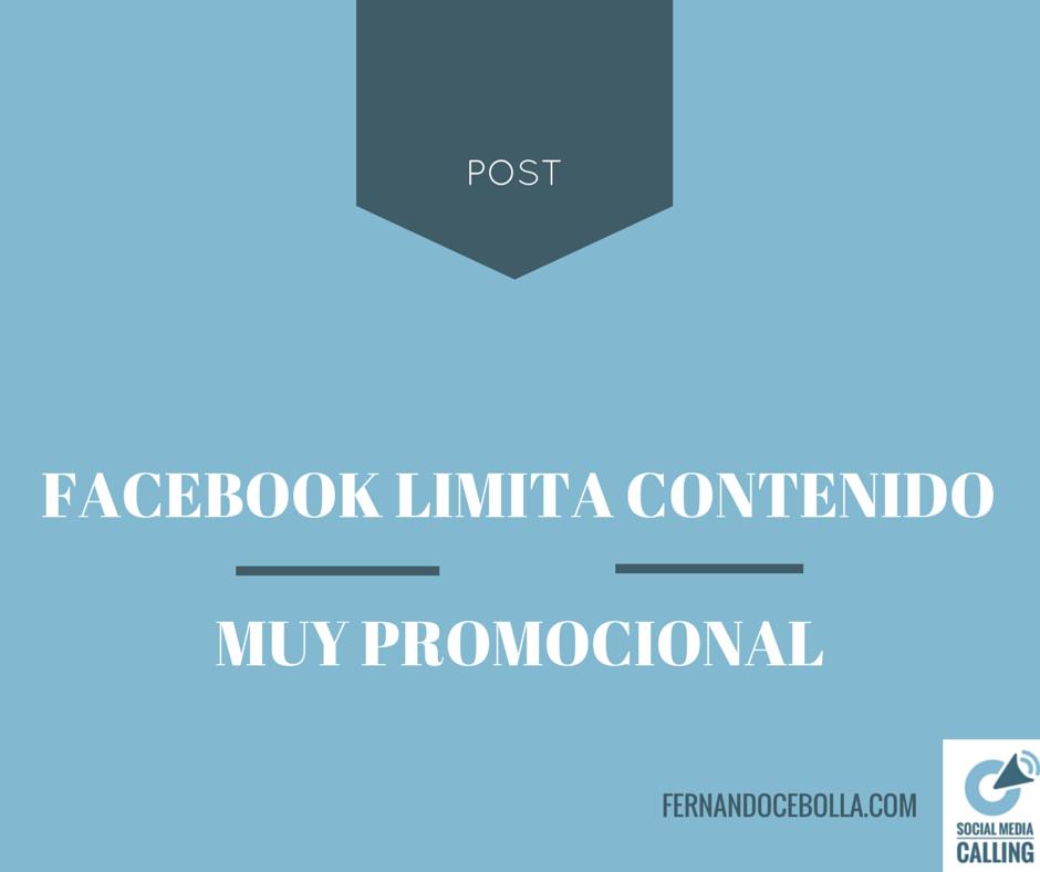 Facebook limita el contenido excesívamente promocional