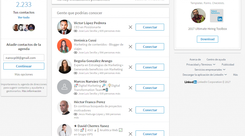 mi red de contactos en LinkedIn